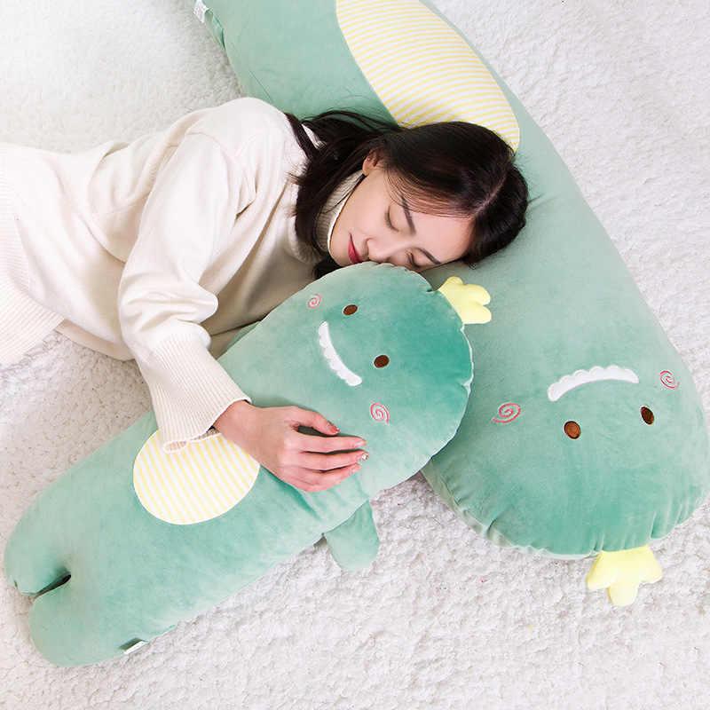 Hayvanlar uzun Bolster peluş oyuncak yumuşak dolması çizgili dinozor domuz Panda kedi yastık çocuk yetişkin uyku arkadaşı hediye Kawaii peluş