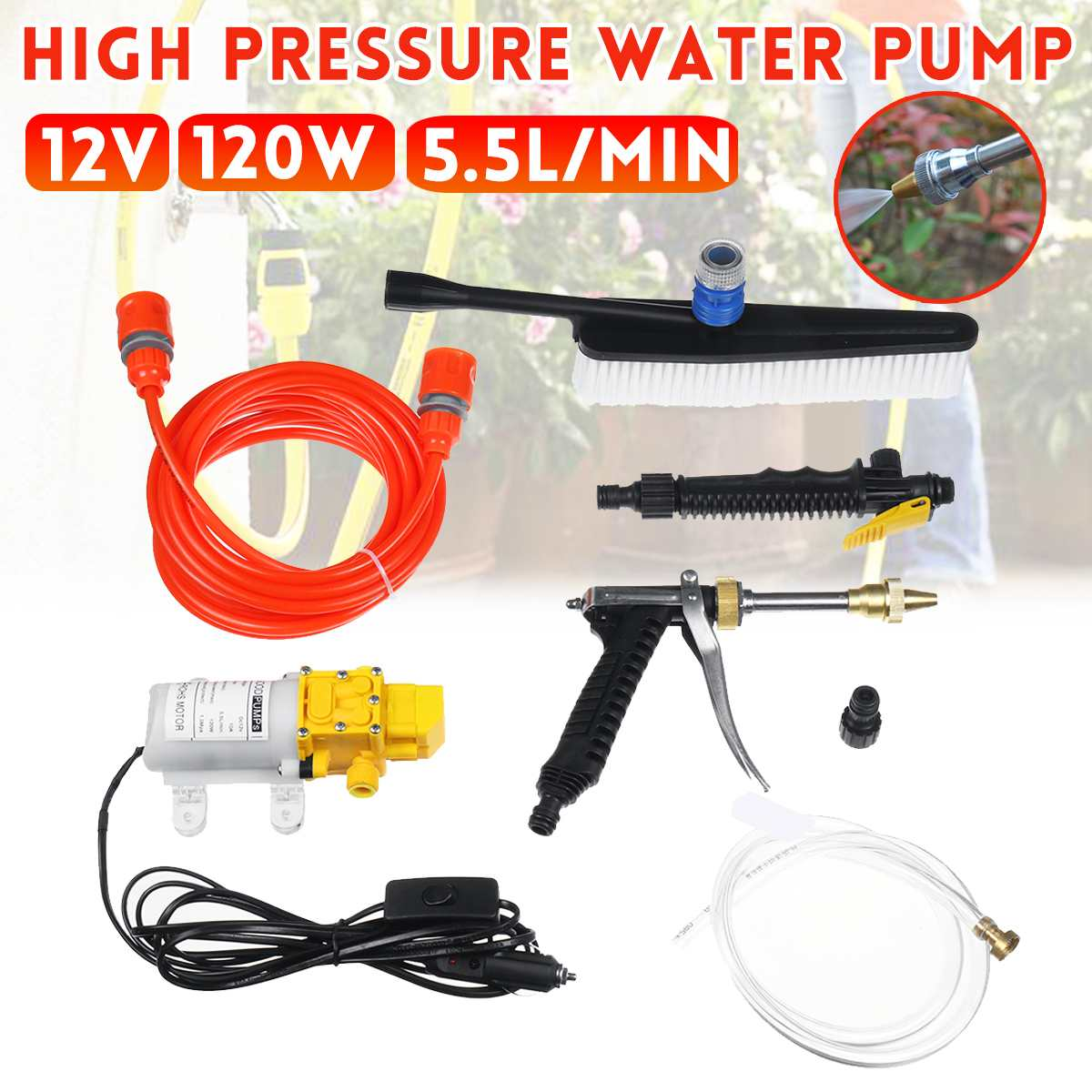 12V 100W Car Washer Guns Pump Car Sprayer High Pressure Cleaner Electric Cleaning Auto Device Car Care Portable Washing Machine
