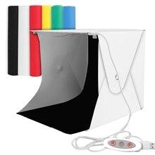 Коробка для фотостудии, Мини Портативная Складная фотостудия палатки с двойными светодиодными огнями и 6 фонов