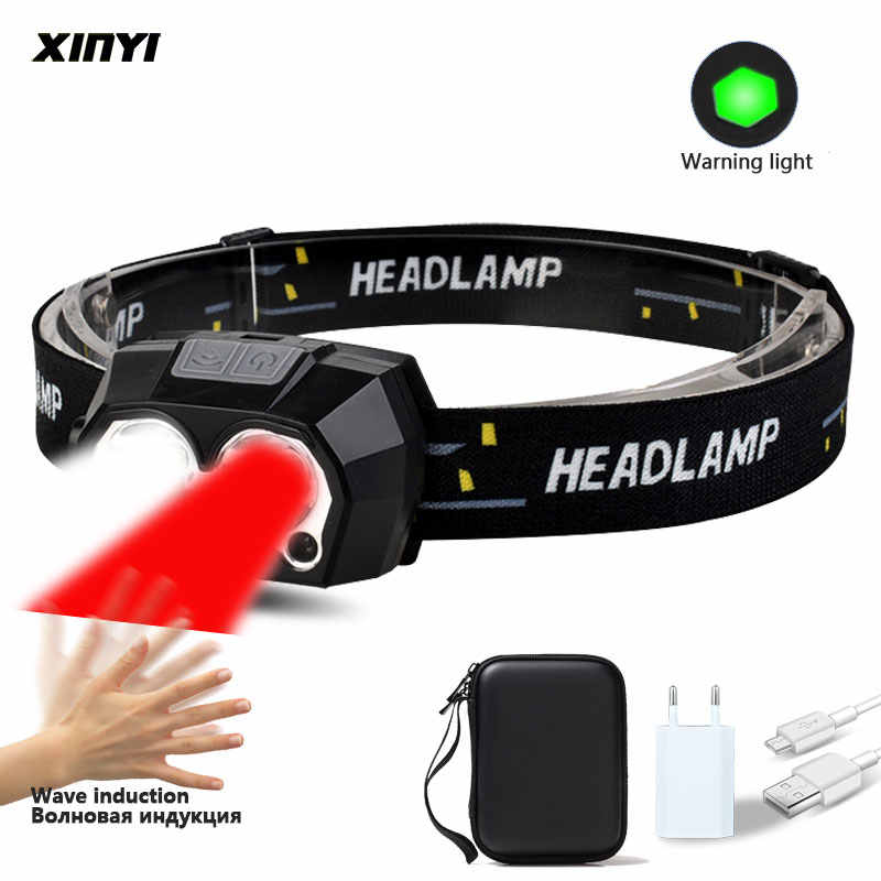 XPE LED Headlight Waterproof Wave Sensor Torch USB Power Rechargeable Headlamp L