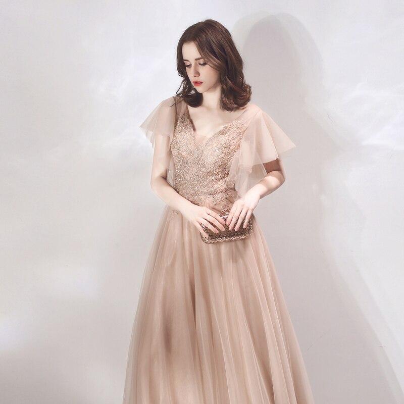 Autumn New arrival prom party dresses vestido de noiva sereia gown robe de soiree evening tulle soft lace V-neck beads lace