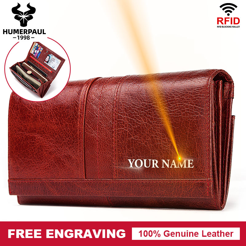 Free Engraving Real Genuine Leather Phone Bag Wallet Women Female Coin Purse Long Clutch Handy Card Holder PORTFOLIO Portomonee