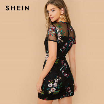 SHEIN Black Sheer Mesh Yoke Flower Embroidered Dress Women 2020 Summer Elegant Fitted High Waist Floral Short Dresses 2