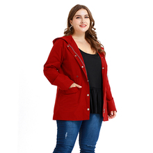 Solid Color Plus Size Windbreaker Zipper Up Hooded Coat Long Sleeve Pocket Large Size Lady Red Zipper Hoodie Outerwear 5XL D30 zipper up pocket color block hooded jacket