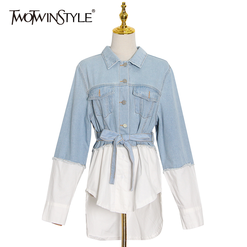 TWOTWINSTYLE Patchwork Tassel Denim Jacket For Women Lapel Long Sleeve Lace Up Bowknot Casual Jackets Female Fashion New Stylish
