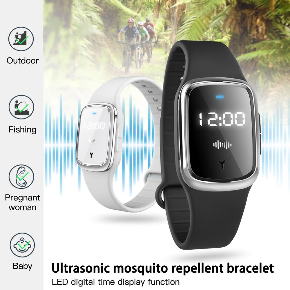 Portable Electronic Anti Mosquito Repellent Bracelet Waterproof Watch Wristband Pregnant Kid Ultrasonic Insect USB Charge