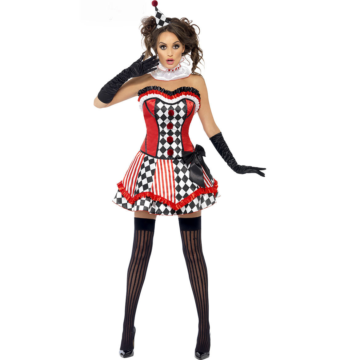 Dancing Stage <font><b>Costumes</b></font> <font><b>Halloween</b></font> <font><b>Sexy</b></font> Role Play Circus Clown Uniform Women Cosplay Dress Stage Permance Clos Sportswear image