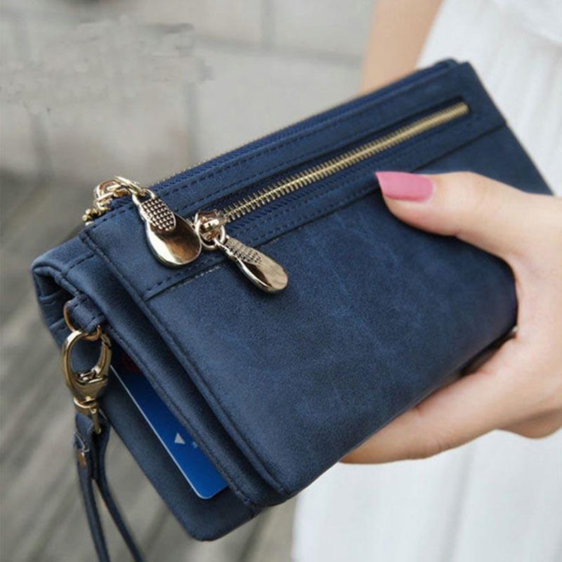 Fashion Wallet Women Leather Double Zipper Coin Phone Pocket Ladies Purse Clutch Women Wallets Card Holder Wristlet Handbag W070
