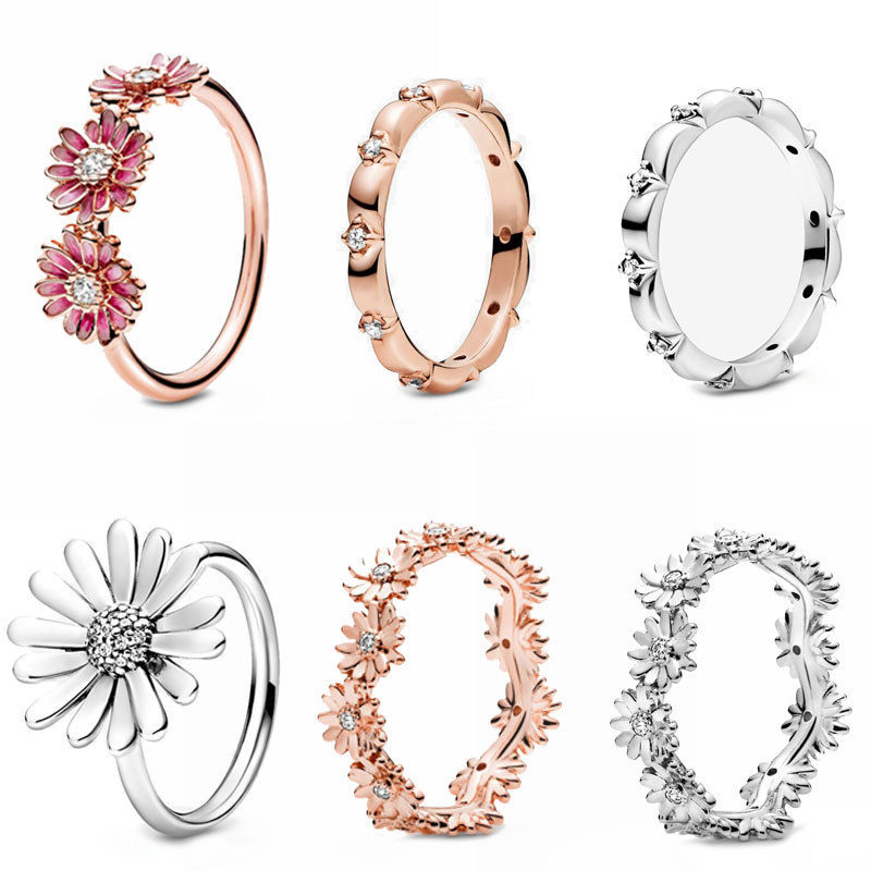 2020 Spring NEW Authentic 925 Sterling Silver Rings Pave Sparkling Daisy Flower Crown Ring Flower Petals Band Rings Jewelry