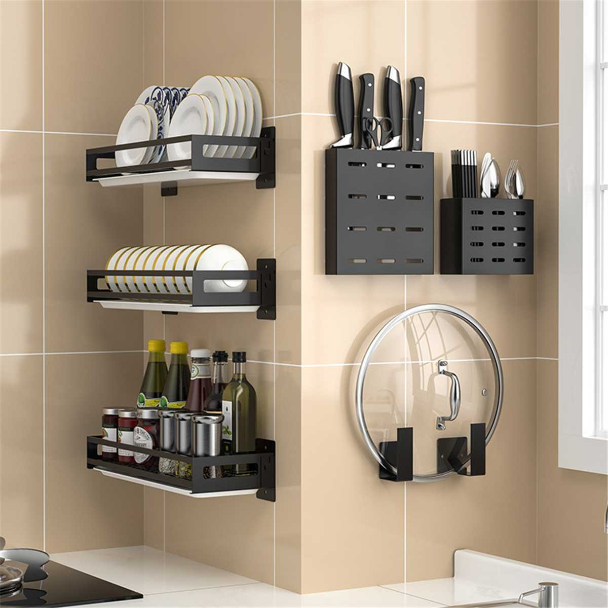 Stainless Steel Kitchen Bathroom Shelf Wall Hanging Non-Punching Pot Cover Cutter Shelf Condiment Storage Rack Dish Drying Rack