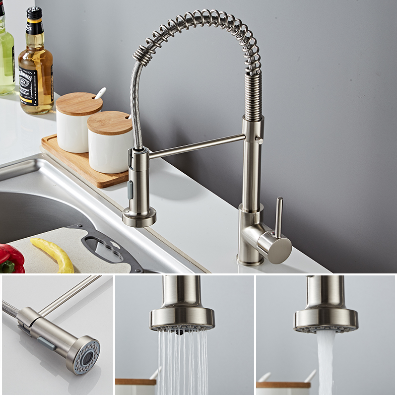 Deck Mounted Flexible Kitchen Faucets Pull Out Mixer Tap Black Hot Cold Kitchen Faucet Spring Style Deck Mounted Flexible Kitchen Faucets Pull Out Mixer Tap Black Hot Cold Kitchen Faucet Spring Style with Spray Mixers Taps E9009