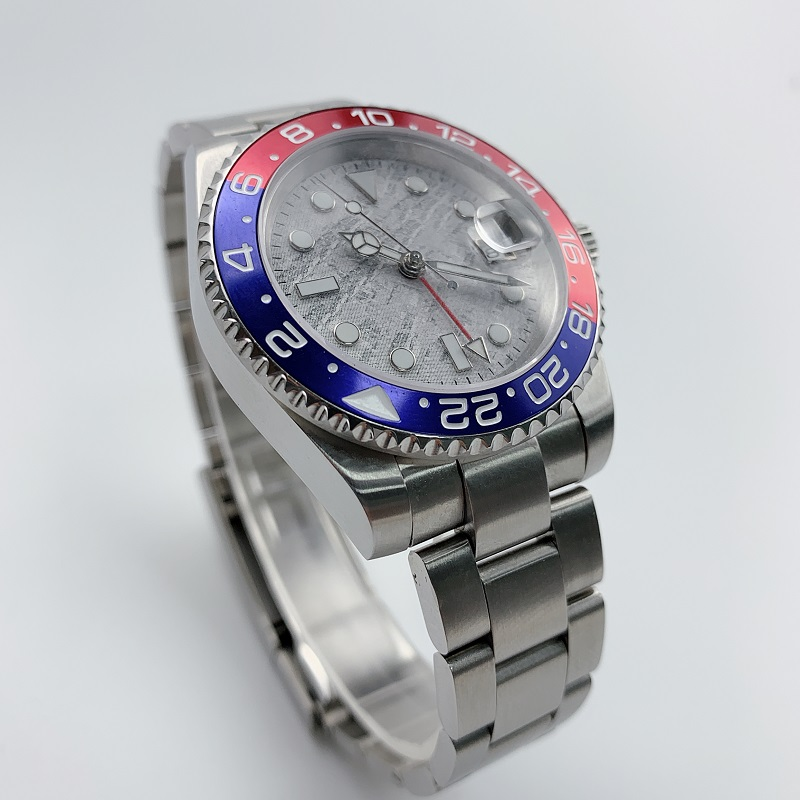 Watch Men Automatic Mechanical GMT 40MM Meteorite Dial Sapphire Crystal blue red Ceramic Bezel Waterproof Luminous - 3