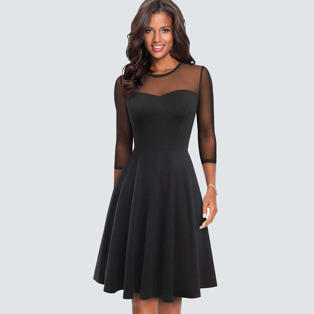 Осеннее сексуальное прозрачное короткое черное элегантное платье винтажное лоскутное свободное ТРАПЕЦИЕВИДНОЕ ПЛАТЬЕ HA170