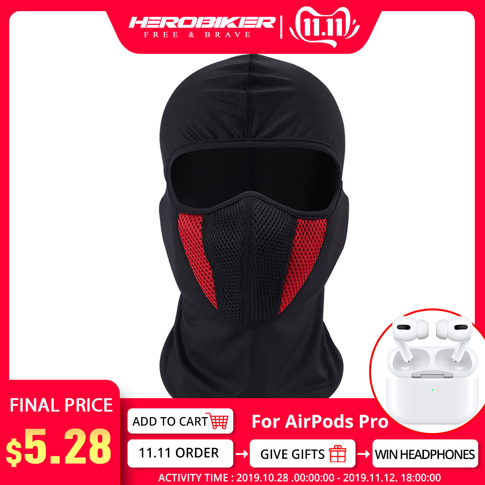 HEROBIKER Balaclava Moto Face Mask Motorcycle Tactical Airsoft Paintball Cycling Ski Mask Helmet Cap Dustproof Motorcycle Mask