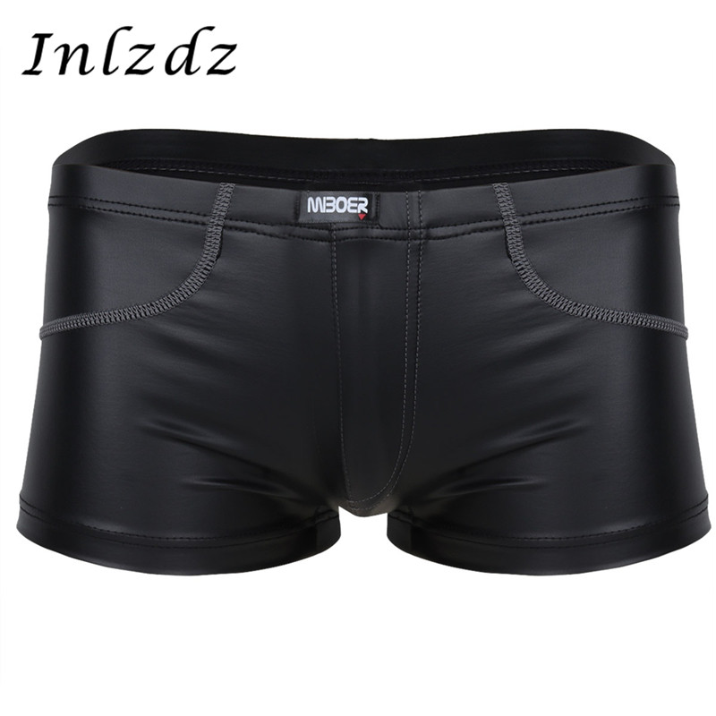 Mens Lingerie Patent Leather Boxer Briefs Shorts Wetlook Exotic Underwear Hot Sexy Male Underpants Lingerie Exotic Sissy Panties