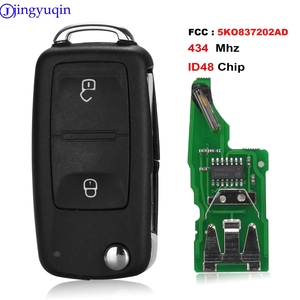 jingyuqin 2B Remote Car Key 434MHz ID48 Chip For VW Volkswagen GOLF PASSAT Tiguan Polo Jetta Beetle 5K0 837 202AD 5K0837202AD