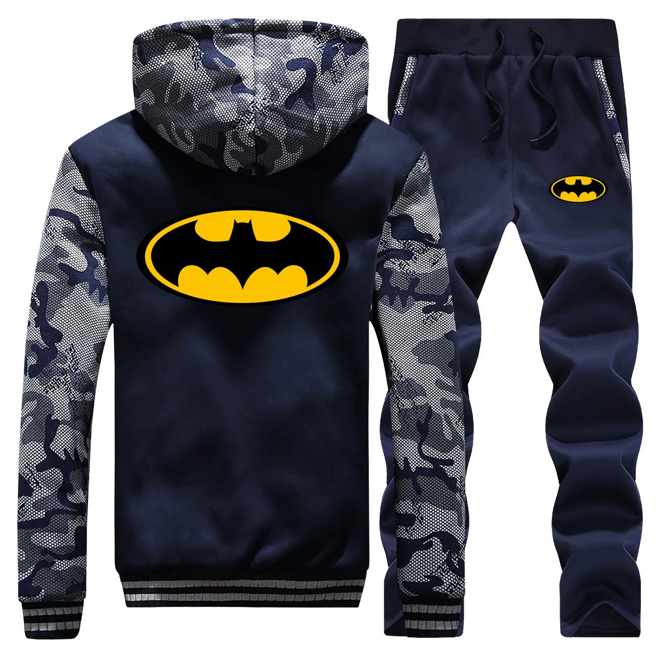 Winter Hot Sale Batman Hoodies Camouflage Raglan Mens Coat Thick Superhero Fashion Jackets Zipper Suit Hooded+Pants 2 Piece Set