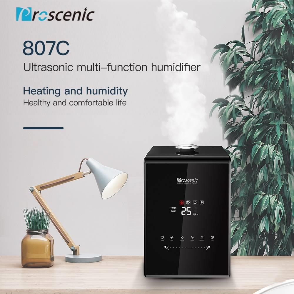 5.5L Warm And Cool Mist Ultrasonic Humidifiers Proscenic 807C Vaporizer With APP And Aleax Control For Bedroom And Babies