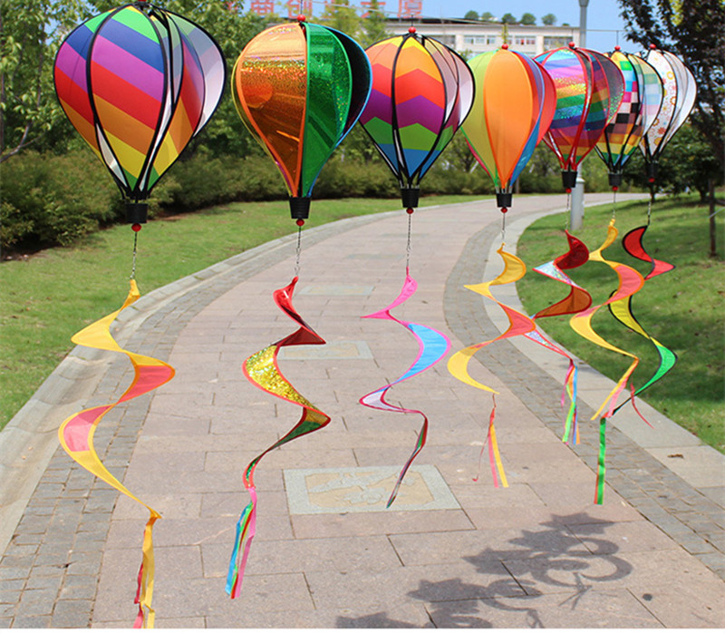 New Hot Air Balloon Rainbow Spiral Windmill Colorful Wind Rotator Tent Kite Long Tail Nylon Outdoor Garden Home Decorations