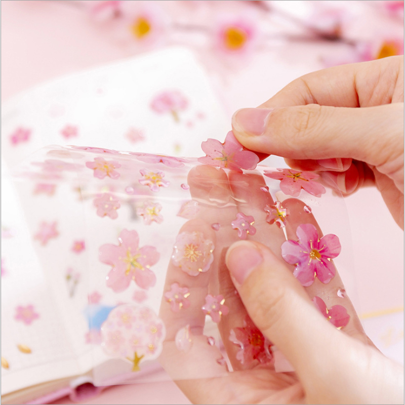 1pcs/lot Cute Cherry Blossom Series Crystal Epoxy Stationery Funny Sticker  For Children On Scrapbook Phone Gifts