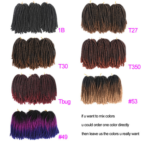 TOMO 8Inch Crochet Braids Ombre Spring Twist Hair Kanekalon Synthetic Hair Extensions Braids Kinky Curly Twists 30Roots Lahore