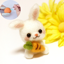 DIY Felting Needles Wool Felt Shapes Rabbit Carrot Craft Kit Handmade Animal 4 Styles of Non-finished