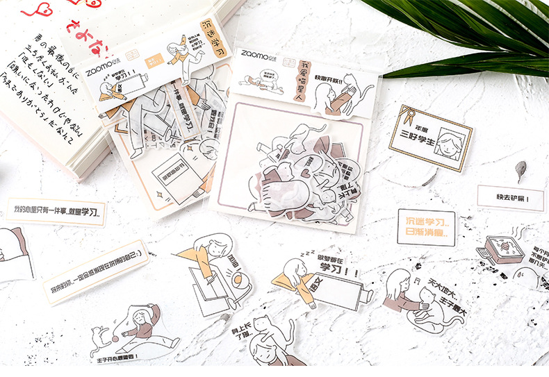 Раннего пены японский Бумага Стикеры посылка соль Системы жизнь маленький народная Серия ручка DIY декоративный Стикеры s для выведения токсинов, 40 шт 16