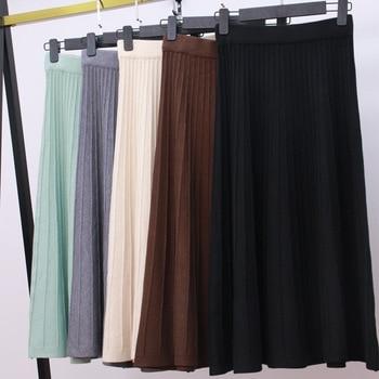 HLBCBG Vintage elegant Winter Women sweater skirt Elastic High Waist Pleated Midi knitted Skirt A-line female solid thick Skirts цена 2017