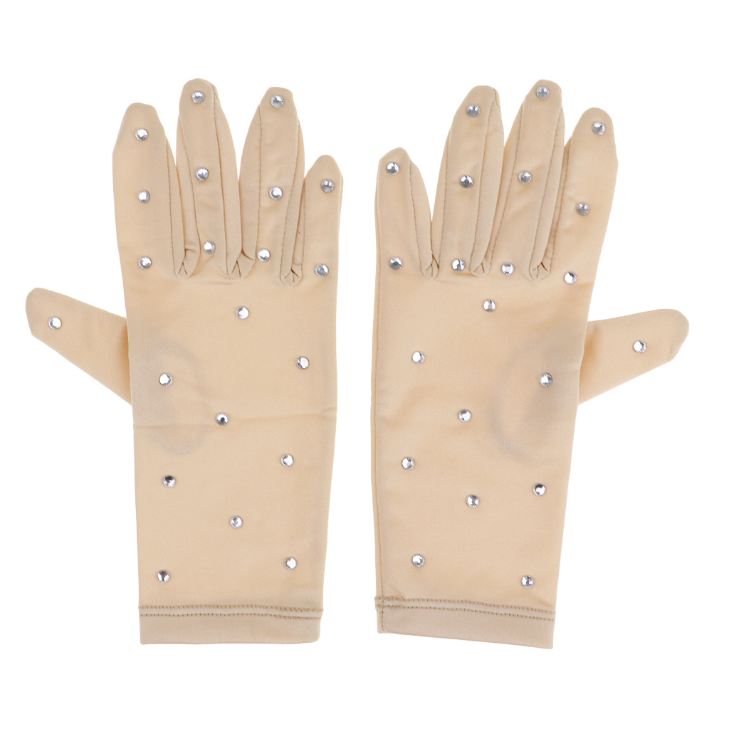 Elastic Women Girls Figure Ice Skating Gloves with Rhinestones For Competition Show Performance Skating Glove