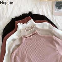 Neploe 2020 Herbst Winter Rüschen Pullover Rollkragen Geraffte Frauen Pullover Hohe Elastische Feste Weibliche Dünne Sexy Strick Pullover
