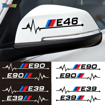 2pcs Latest design M power performance car rearview mirror sticker for BMW M3 M5 1 3 5 Series E30 E34 E36 E39 E46 E60 E90 E87 image