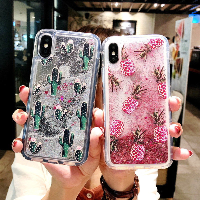 Bling Glitter Dynamic Cactus Pineapple Liquid Quicksand Phone Back For IPhone 6 6 S XS