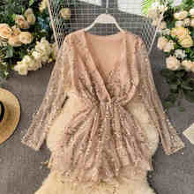 NiceMix New Sexy Night V-neck Long Sleeve Slim Broad-legged Couplet Playsuits Sequin Rompers Womens Jumpsuit(China)