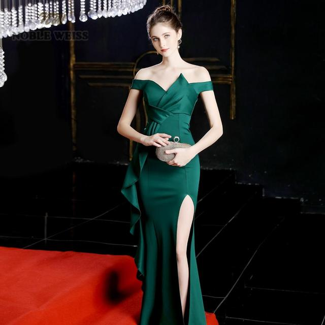 prom dresses 2019 green mermaid sexy split elastic party dress sexy vestidos de gala sweetheart long prom gown 3