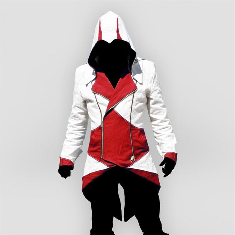 Assassins Creed Cosplay Adult Men Women Streetwear Hooded Jacket Coats Outwear Costume Edward Assassins Creed Halloween Costume