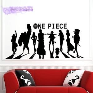 Одна деталь силуэт Наклейка на стену виниловая наклейка на стену s Наклейка Декор для дома декоративное украшение Аниме ONE PIECE стикер для авт...