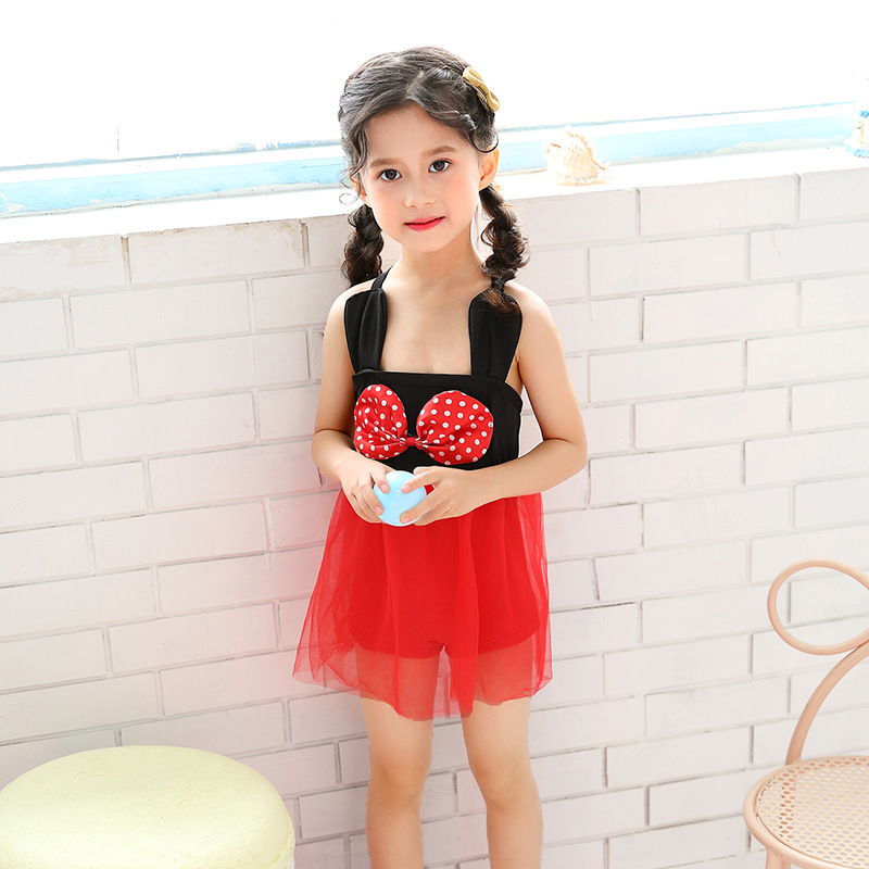 2019 New Style Girls Cute Hipster One-piece Swimsuit For Children Camisole Boxer Mesh Dress GIRL'S Swimsuit