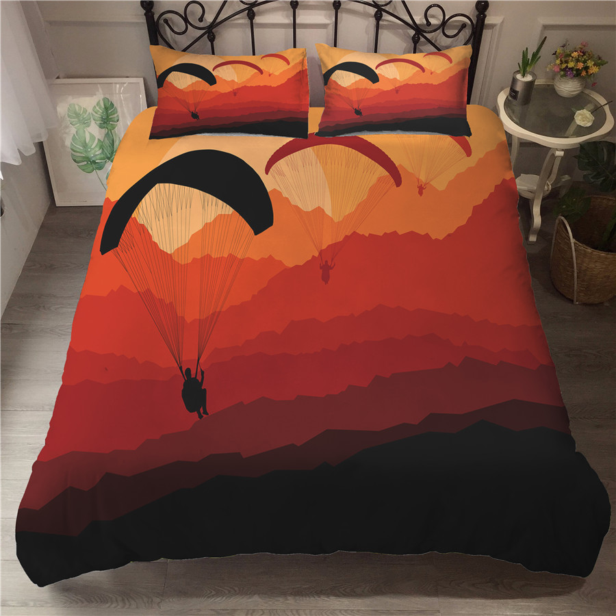 A Bedding Set 3D Printed Duvet Cover Bed Set Paragliding Home Textiles For Adults Bedclothes With Pillowcase #HXS01