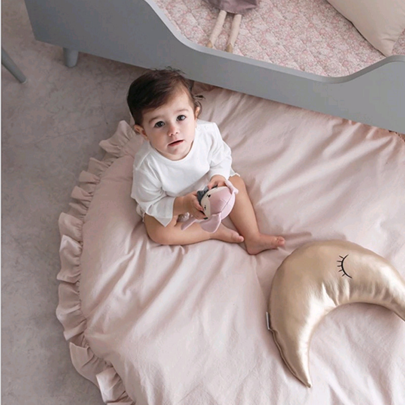 Baby Crawling Mat Soft Lace Cotton Blanket Thicken For Kids Room Decoration Toddlers Play Round Carpet Rug Plush Toys | Happy Baby Mama