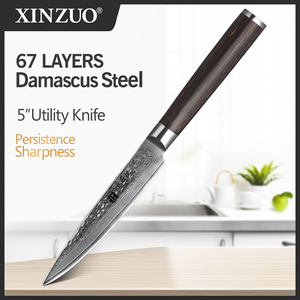 Image 1 - XINZUO 5 inch Utility Knife Damascus Steel Kitchen Knives Professional Stainless Steel Table Paring Knife Pakka Wood Handle