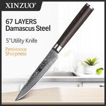 XINZUO couteau utilitaire de 5 po, couteaux de cuisine en acier, damas, couteau doffice professionnel de Table en acier inoxydable, manche en bois de Pakka