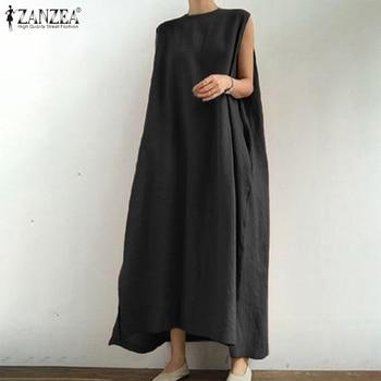 ZANZEA 2020 Stylish Split Dress Women's Summer Sundress Casual Sleeveless Vestidos Female O Neck Solid Maxi Robe Oversized 5XL цена 2017