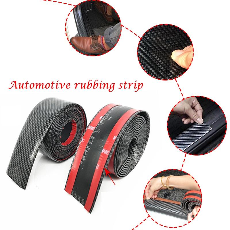 Car Exterior Accessories Auto Door Threshold Sticker Practical Bumper Strip Carbon Fiber Vehicle Protection Durable Decoration