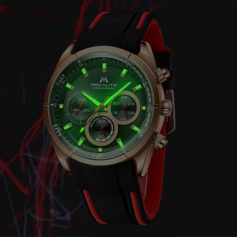 Relogio Masculino MEGALITH New Sport Chronograph Men Watch Top Brand Luxury Quartz Clock Man Waterproof Silicone Strap Watch Men in Quartz Watches from Watches
