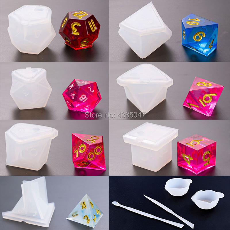 11pcs/set Dice Resin Mold Moulds Gamer-tools Dice Fillet Shape Multi-spec Silicone Mould Making
