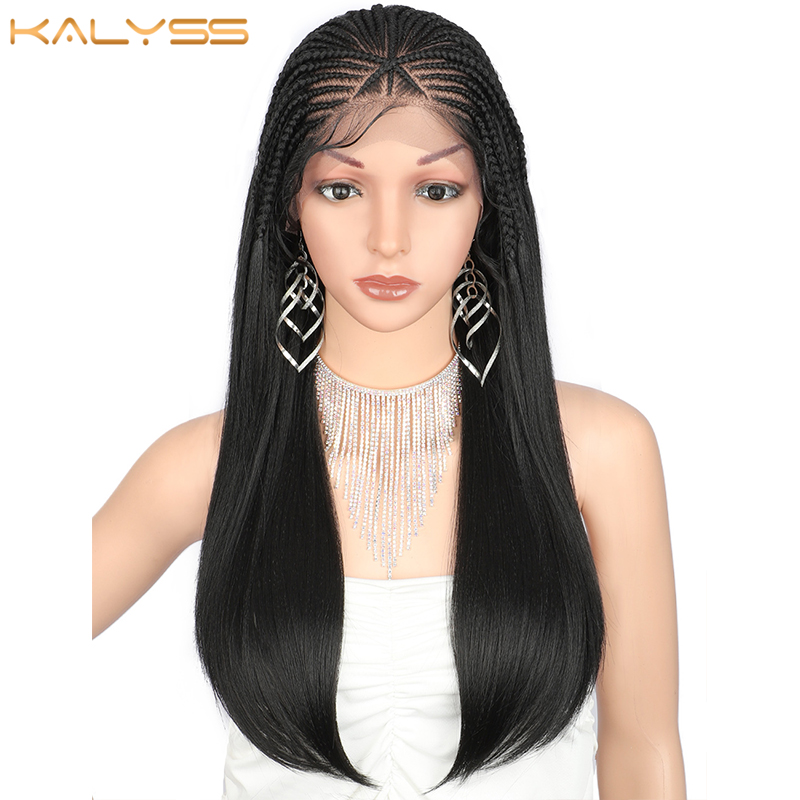 Kalyss 24 Inches 13x5 Braided Synthetic Lace Front Wigs For Black Women Long Straight Cornrow Box Braided Wig Heat Resistant