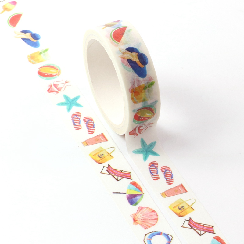 1pc Decorative Summer Ocean Beach Life Washi Tape Kawaii Scrapbooking Stickers Adhesive Masking Tape Diy Photo Album Stationery