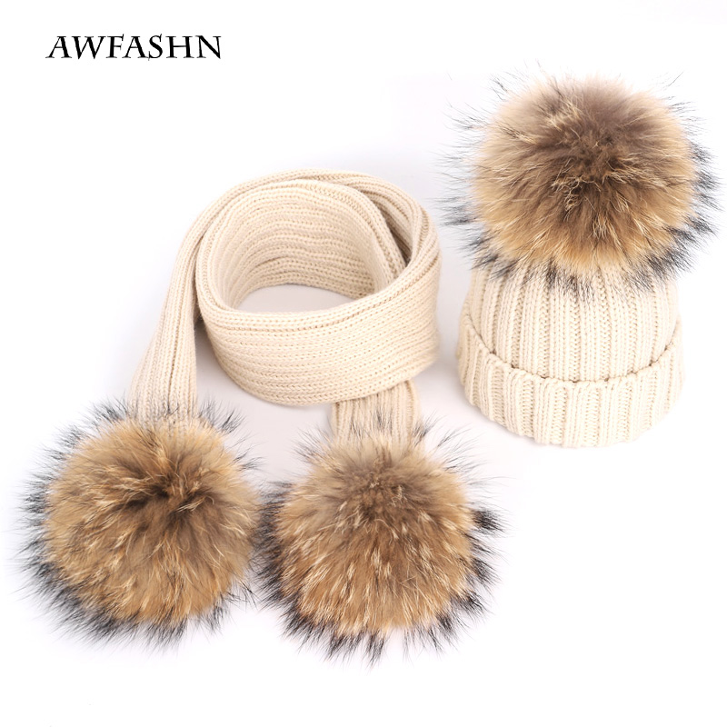 New Children's Hats Raccoon Plush Ball Knitted Wool Hat Scarf Suit Boy Girl Winter Thickening Head Cap Scarf Soft Ski Baby Child