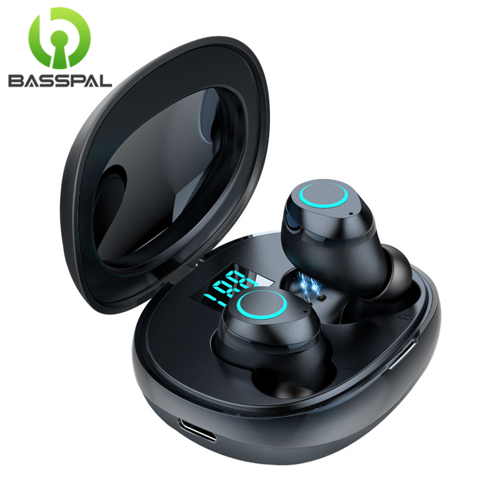 BassPal TWS Bluetooth Earphones 5 0 Touch Control Handsfree Wireless Earbuds I07 With Charging Case Sport Earphones For Phone