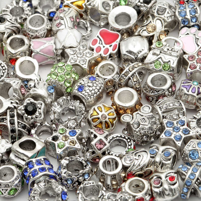 Wholesale 45g Mixed Metal Big Hole Enamel Rhinestone Crystal Bead Charms For Needwork Bracelet Jewelry Making 8.5mm-12mm